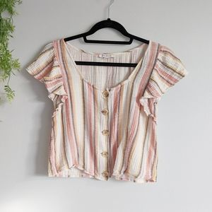 (AEO) Cotton Linen Boho Striped Cropped Top Med